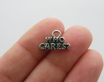 4 Who cares ? charms antique silver tone M589