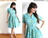 ON SALE 1960s Dress / 60s 50s Full Skirt Watercolor Blue Shirtwaist Dress