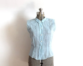 ON SALE 1950s Blouse / 50s 1940s Light Blue Sleeveless Pintuck Blouse