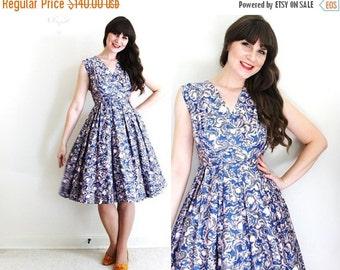 ON SALE 1950s Dress / 50s Dress / 50s Full Skirt Dress