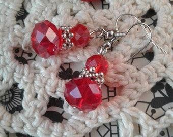 Red Crystal Earrings,Wedding,Holidays,Victorian Earrings