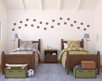 Wolf Paw Print Wall Decal Set - Boy Bedroom Decor - Wolf Tracks Set of 24 - Medium Size