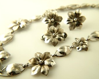 Flower Necklace, Earrings, Brooch Set - Demi Parure - Sterling Silver - Vintage