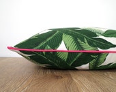 Green palm pillow cover indoor outdoor fabric, tropical outdoor pillow island theme,  outdoor cushion banana leaf print Hollywood Regency