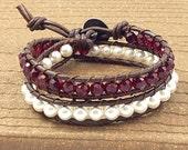 Birthstone Double Wrap Bracelet, made with Swarovski and Leather