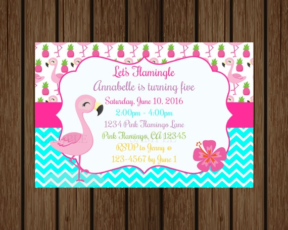 Pink Flamingo Birthday Invitation Summer Luau Pool Party