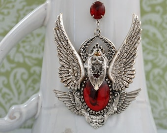 Victorian style oversized necklace, SERAPHIM six winged angel necklace in antiqued silver with vintage ruby red glass cab