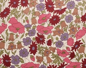 Liberty tana lawn printed in Japan - Poppy& Daisy - Rose purple brown mix