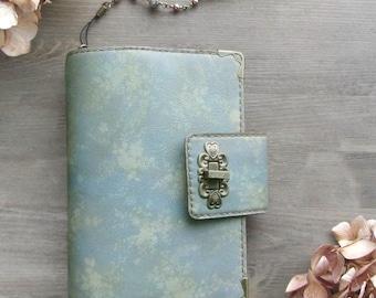 leather binder, pale jade flowers, leather planner, floral cover, planner binder, vintage texture, flower planner, diary, handstitched.