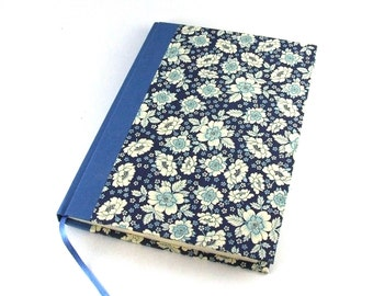 DIN A5 blank book, floral notebook journal, blue diary