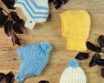 Baby Knitting Pattern -  Baby Girl and Boy Helmets, Caps, Hats DOWNLOAD PDF