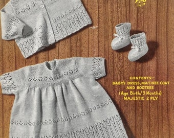 Xmas Baby KNITTING PATTERN -  Dress, Matinee coat/Jacket, Booties for Baby/Reborn doll  0-3months