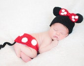 Baby girl hat, Minnie Mouse, Crochet Minnie Mouse, Disney Baby, Disney Nursery, photography prop, coming home outfit, baby shower gift, baby