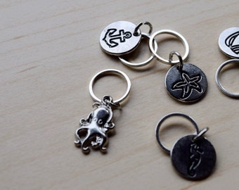 Seaside Themed Stitch Markers - Set of Five