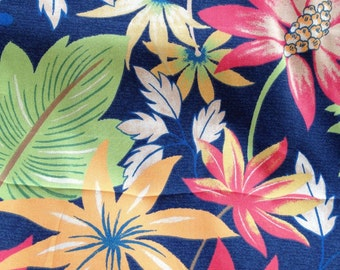 OUTDOOR Upholstery Fabric, NAVY Dramatic FLORAL Orange Green And Tan ,  36-60-12-0912