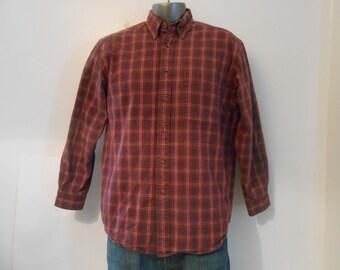 Vintage Eddie Bauer Flannel Cotton Shirt/Men's Size Medium Long Sleeved Shirt/Women's Shirt Size Large
