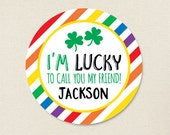 St. Patrick's Day Stickers - Lucky to Call You My Friend - Sheet of 12 or 24