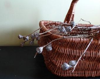 Vintage Rattan/Wicker Baskets.  Set of Two . Bridesmaid/Flower Girl . Wedding Baskets . Flower Baskets . Baskets with Handles