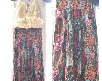 Vintage Indian print maxi skirt, Bohemian music festival Hippie patchowrk skirt, Coachella , Bonnaroo summer festivals True rebel clothing