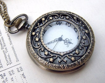 Watch Necklace Filigree Flower Vines Vintage Inspired Victorian Pocket Watch Jewelry Locket Gift for Her