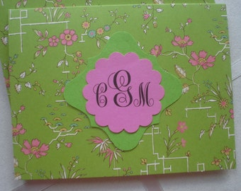 Anna Griffin Lime and Pink Oriental Floral Notecard Plain Creme Envelope Five for Five