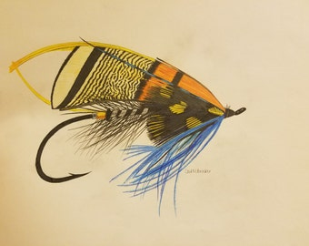 "Colored Pencil Salmon Fly ORIGINAL 10.25x14 """
