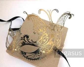 Gold Black Butterfly Goddess Venetian Filigree Scroll work Metal Masquerade Mask (5 color options) Lightweight Laser Cut flexible mask