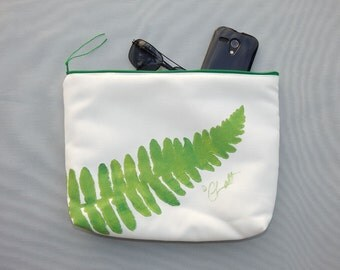 "EVERYTHING BAG Fern zippered case tablet cosmetic makeup 9""x12""x2.5"" travel pouch toiletry purse organizer painted lined washable clutch"