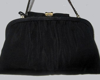 """1950's """"After-Five,"""" Crepe Evening Hand bag made in USA"""