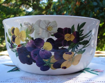 Deep Purple, White, and Yellow Violets! Large Ceramic Yarn Bowl / Yarn Holder