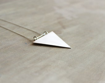Sterling Silver Triangle Necklace, Pendant Necklace, Silver Triangle Pendant, Geometric Necklace