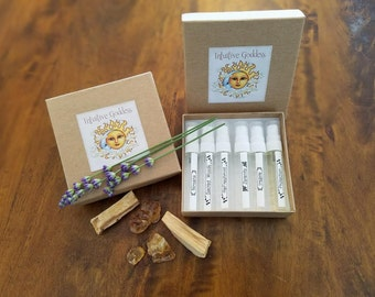 Intuitive Goddess Aromatherapy/Smudging/Body Spray Natural Perfumer Sampler  6 samples customer choice 3ml size