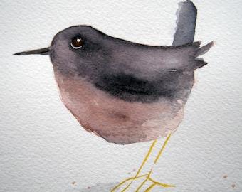 Wren, original bird watercolor, grey and pink, small art, small bird, simple, children's, nursery art, whimsical, fat bird