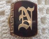 Vintage Victorian Collar Button Gothic Initial N