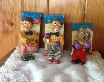 Vintage Russ Wind Up Toy Clown & Bear MIB 1991 Choice