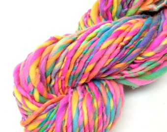 Bulky  rainbow yarn, 50 yards, 1.8 ounces and 51 grams, handspun in merino wool