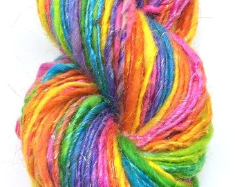 Handspun sparkly rainbow yarn, self striping  - 70 yards, 1.45 ounces, 41 grams