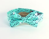 Boy's Bow Tie - Aqua Navy Panda - Panda Bear Print Novelty Ring Bearer Kids Bowtie - diamond point or traditional - any size - In Stock