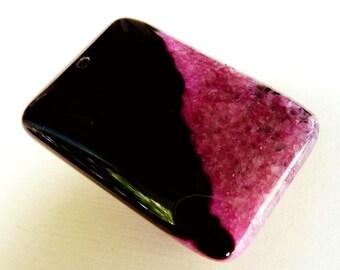 Gemstone Pendant Druzy Agate Pendant Pink Pendant Gemstone Bead Druzy Pendant Pink Gemstone Agate Bead Pink Pendant Red Pendant Black Bead
