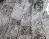 Winter shabby rag quilt baby quilts snowflakes trees throw