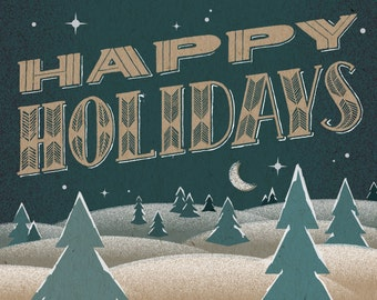 "Happy Holidays Print - 8"" x 10"" Art Print on 100# French Speckletone Kraft Cover, Vintage-Inspired"