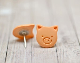 Light Orange Pig Earrings, Cute Little Piggies Farm Animals Jewelry, Flesh Light Skin Color Vegan Jewelry