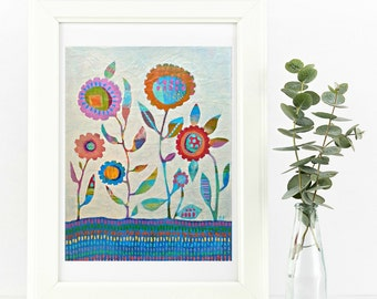 Giclee Art Print / Contemporary Fine Art / Somerset Velvet Cotton / Spring Flowers Painting / Florals /Zoe Ford Art