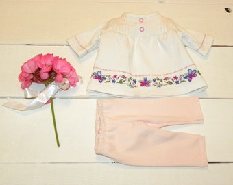 White Decorated Dress and Light Pink Leggings - 16- 17 inch doll clothes