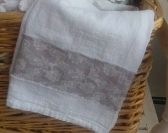 Grey Greige Lace Printed on Cotton Raw Edge Fabric Trimmed Flour Sack Towel Kitchen Towel Tea Towel All Cotton