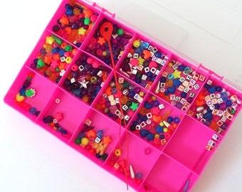 Plastic Pony, Shaped and Alphabet Beads Destash Plus Plastic Craft Storage Organizer