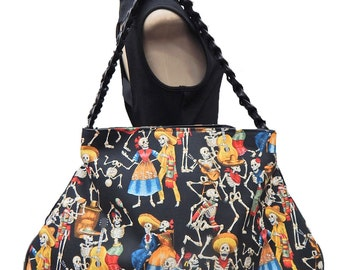 """USA Handmade  Large Doctor bag Satchel Style """"Day Of The Dead"""" Hallowen Pattern Purse With Braided Strap Handle, Cotton, New"""