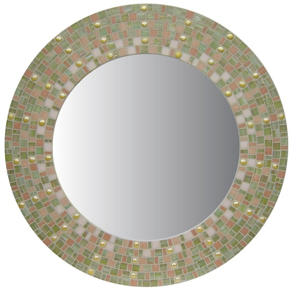 Green Coral & Yellow Round Mosaic Wall Mirror