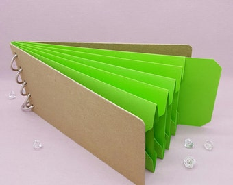 "Green Shades, Pocket Tag, Chipboard Album, Size 8-1/4"" x 4-1/4"", Scrapbooking, Memory Keeping, Photo Album, Kraft Covers"