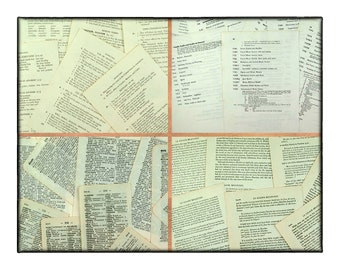 Vintage paper pack, 35 pcs, English and French and German, dictionary pages and grammar text, class numbers and French literature.